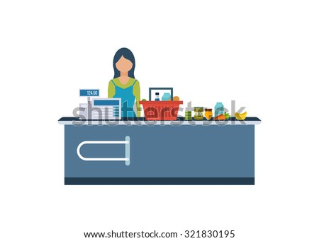 A Young cashier woman standing in supermarket. Sales clerk working with customers at the technology store or department. Flat illustration.  - stock vector
