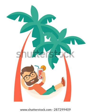A young caucasian on the beach relaxing and drinking cocktail under the heat of the sun with two coconut tree. A Contemporary style. Vector flat design illustration isolated white background. Vertical - stock vector
