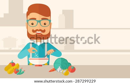 A Young caucasian with beard is happy eating salad for lunch with some vegetables on the table. A Contemporary style with pastel palette, soft beige tinted background. Vector flat design illustration - stock vector