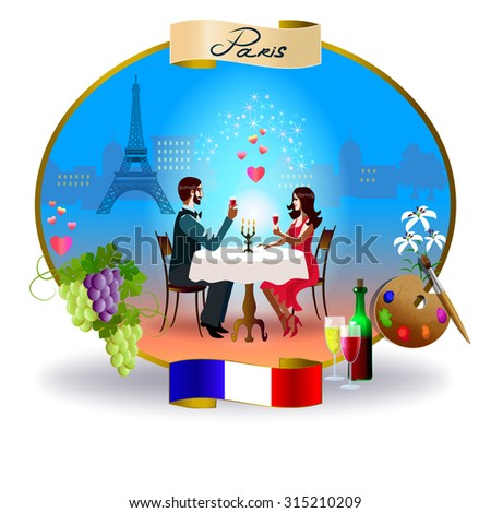 A young couple sitting at a cafe table. On the background, views of Paris. Below is the flag of France. On the left is grapes. On the right is palette and wine. - stock vector