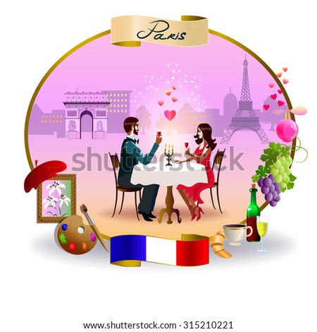 A young couple sitting at a cafe table. On the background, views of Paris. On the left is a brush, palette and beret of artist. On right wine and croissant and coffee. - stock vector