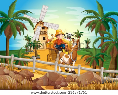 A young farmer at the farm with his animals - stock vector