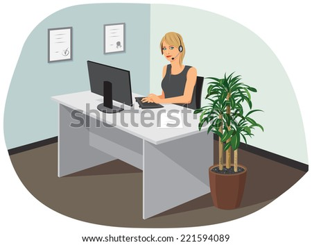 A young female call center operator is in the office. - stock vector