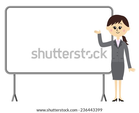A young female employee giving a presentation in front of a whiteboard, vector illustration - stock vector