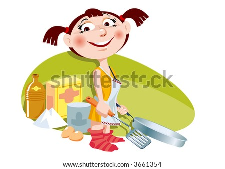 A young girl having fun making a pancake. Vector EPS-File.