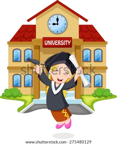 A young girl jumps for joy graduates holding certificates front of the campus - stock vector