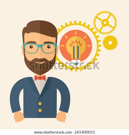 A young good looking, smart hipster Caucasian man with beard thinking a new bright idea, a different kind of imagination inspired by bulb shape. Human intelligence concept. A contemporary style - stock vector