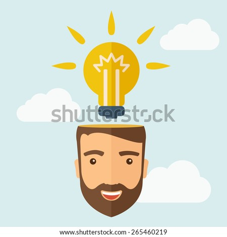 A young happy Caucasian businessman with beard thinking about success solution. Human intelligence concept. A contemporary style with pastel palette, soft blue tinted background