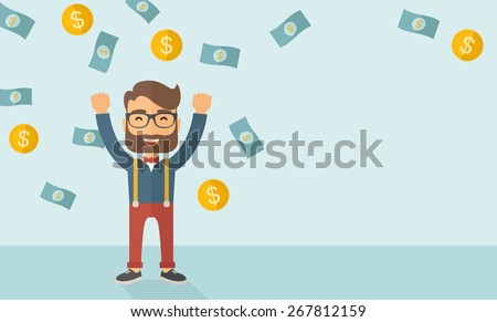 A young hipster Caucasian businessman under falling money - stock vector