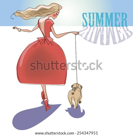 A young lady with a dog. Vector illustration. - stock vector