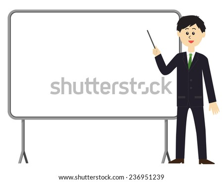 A young male employee with a pointing stick in front of a whiteboard, vector illustration - stock vector