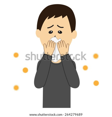 A young man blowing nose, allergen flowing in the air, vector illustration - stock vector