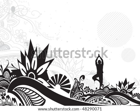 A young man doing yoga vector silhouette in floral pattern background , vector illustration - stock vector