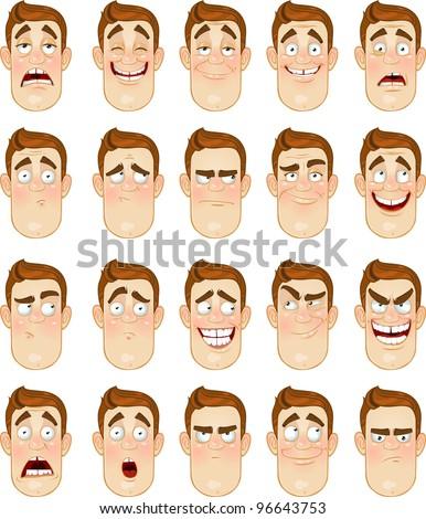 A young man emotions - joy, sadness, hurt, shock, joy, inspiration - stock vector