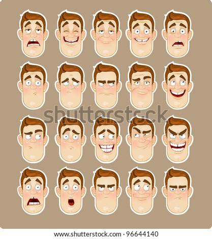 A young man emotions - joy, sadness, hurt, shock, joy, inspiration icon - stock vector