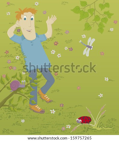 A young man is lying on the grass. Nearby is a snail, a ladybird and a dragonfly. EPS8 Illustration. - stock vector
