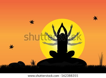 A young man meditating peacefully on a rock in peaceful natural setting on an early morning sunrise with bright yellow sun with folded hands - concept design art - stock vector