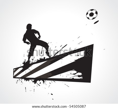 a young man play a football with construction banner, vector illustration. - stock vector