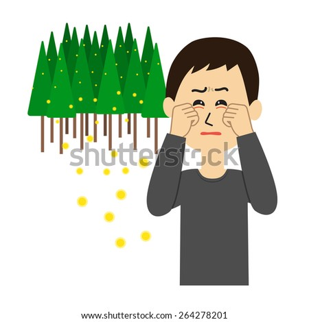 A young man with itchy eyes, allergy caused by cedar pollen, vector illustration - stock vector