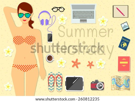 A young pretty woman laying down on the beach with her things for summer holiday. - stock vector