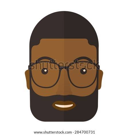 A young professional african- american face wearing eyeglasses. A Contemporary style. Vector flat design illustration isolated white background. Square layout - stock vector