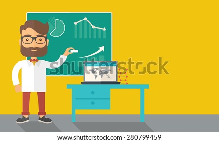 A young professor holding a chalk sketching a graphs and teaching on how to develop a business worlwide. A Contemporary style with pastel palette, dark yellow tinted background. Vector flat design - stock vector