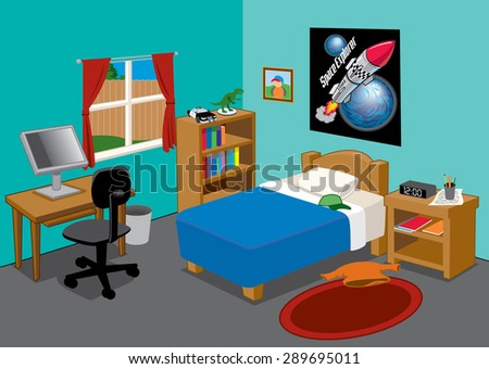 a young suburban boys brightly colored bedroom - stock vector