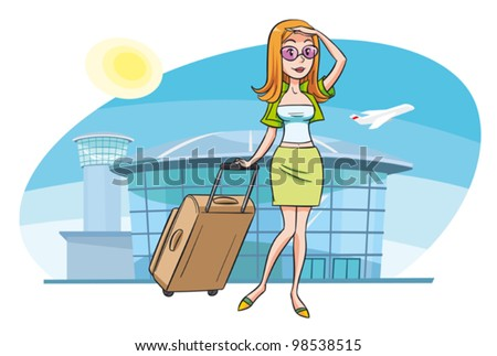 A young woman at the airport going on vacation. A person is grouped separately and can be easily moved or scaled against the background. - stock vector