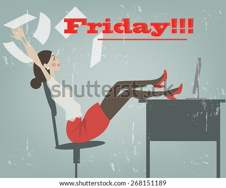 a young woman in an office chair rejoices the arrival of the weekend - stock vector