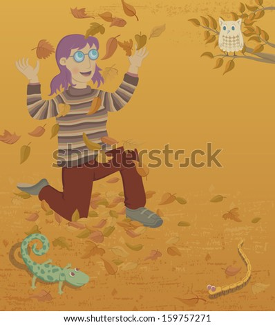 A young woman throwing up fall' leaves. Nearby there is an owl, a lizard and a worm. EPS8 Illustration. - stock vector