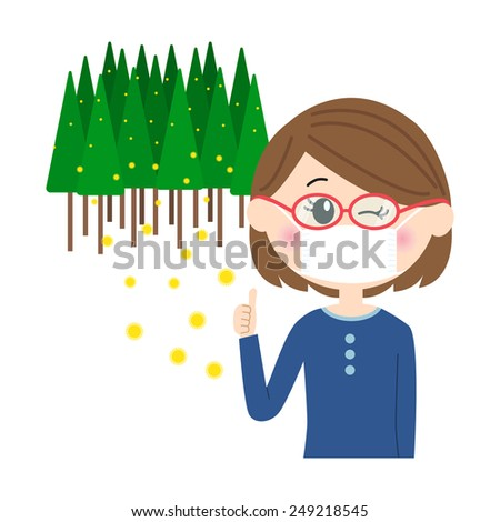 A young woman winking with a mask and glasses on, allergy caused by cedar pollen, vector illustration  - stock vector