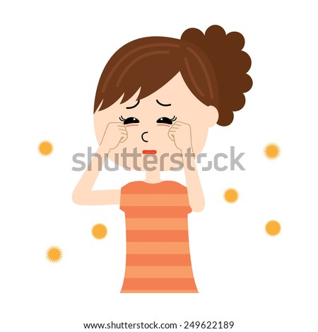 A young woman with itchy eyes, allergen flowing in the air, vector illustration - stock vector