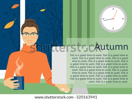 A young woman working at a computer against the window. Outside, the autumn night. - stock vector