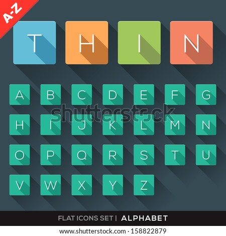 A-Z Flat Icons Alphabet Letter Set with long shadow - stock vector