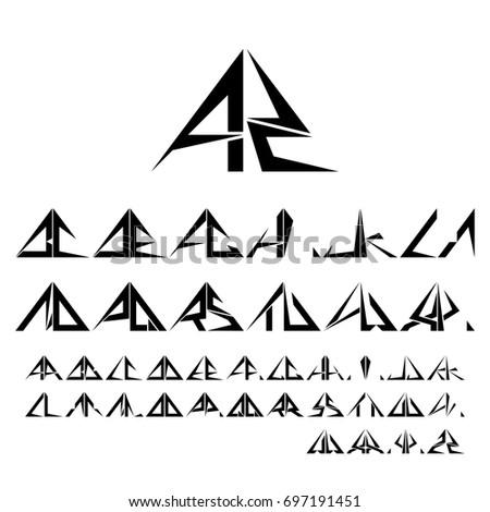 Az Half Triangle Shapes Symbol Letter Stock Vector 697191451