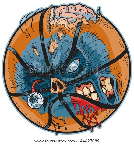A Zombie Basketball Vector Cartoon! Color elements are in a separate layer in the .eps for easy customization! - stock vector