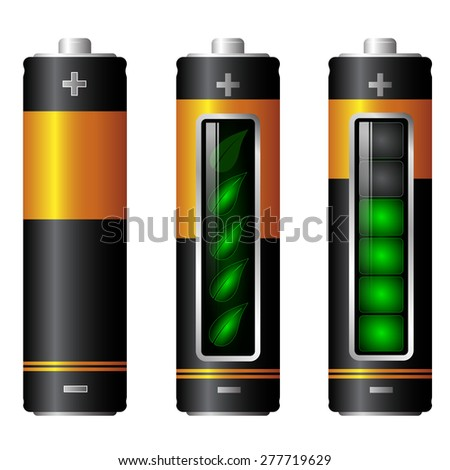AA battery charge indicator ecology - stock vector