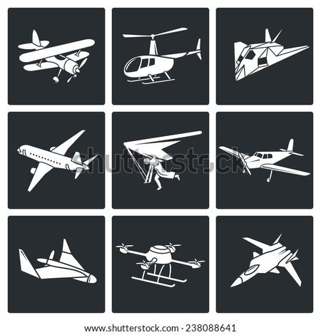 Aaircrafts Vector Icons Set - stock vector