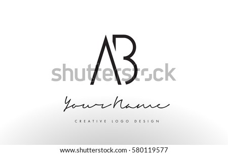 AB Letters Logo Design Slim Simple And Creative Black Letter Concept Illustration