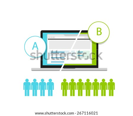 AB testing A/B split comparison web design  - stock vector