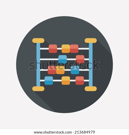 abacus calculation flat icon with long shadow - stock vector