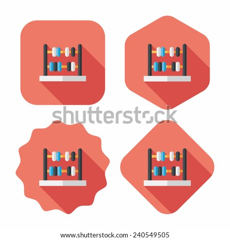 abacus calculation flat icon with long shadow,eps10 - stock vector
