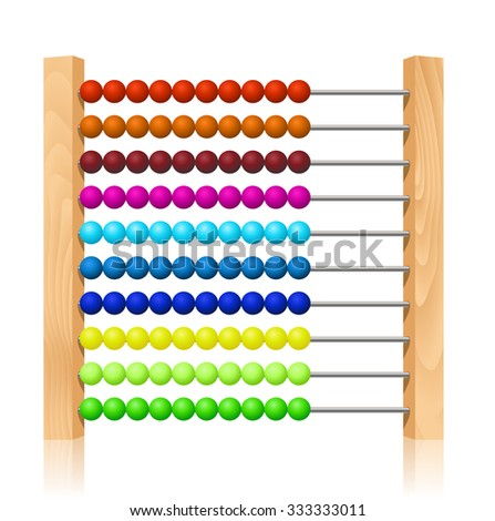 Abacus with colorful wooden beads - stock vector