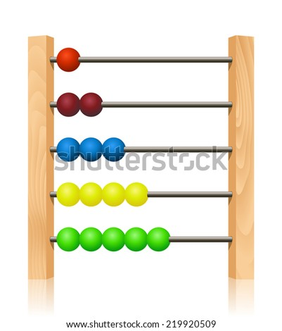 Abacus with colorful wooden beads in front of white background - stock vector