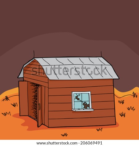 Abandoned barn with broken window in drought - stock vector