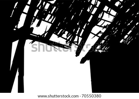 Abandoned broken Barn Gate and its holy Roof from inside. The old Building is caving in, barely standing - stock vector