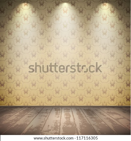 Abandoned pale room with wooden floor - stock vector