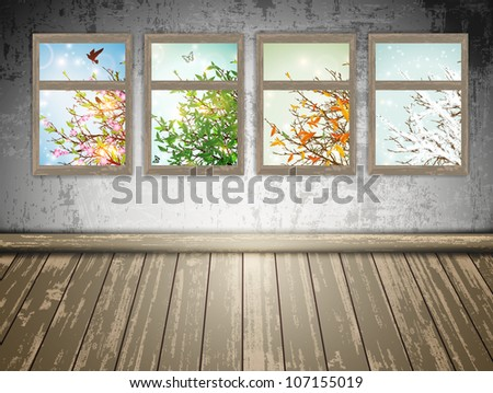 abandoned room with a Four Season windows: spring, summer, autumn and winter - stock vector