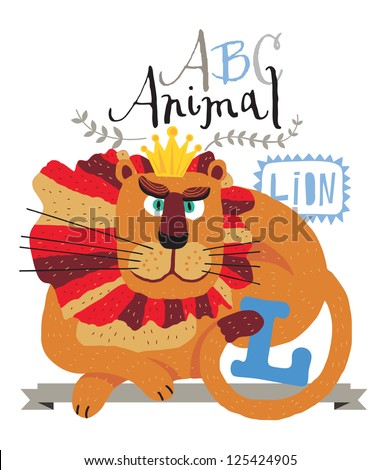 ABC animals: L is for Leon. Vector Graphics - stock vector