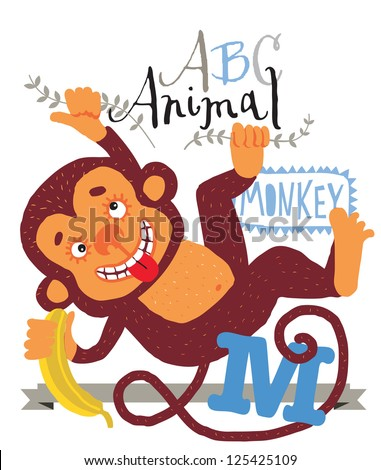 ABC animals: M is for monkey. Vector Graphics - stock vector